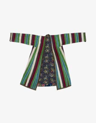 Central Asian Turcoman Silk And Cotton Kaftan Robe