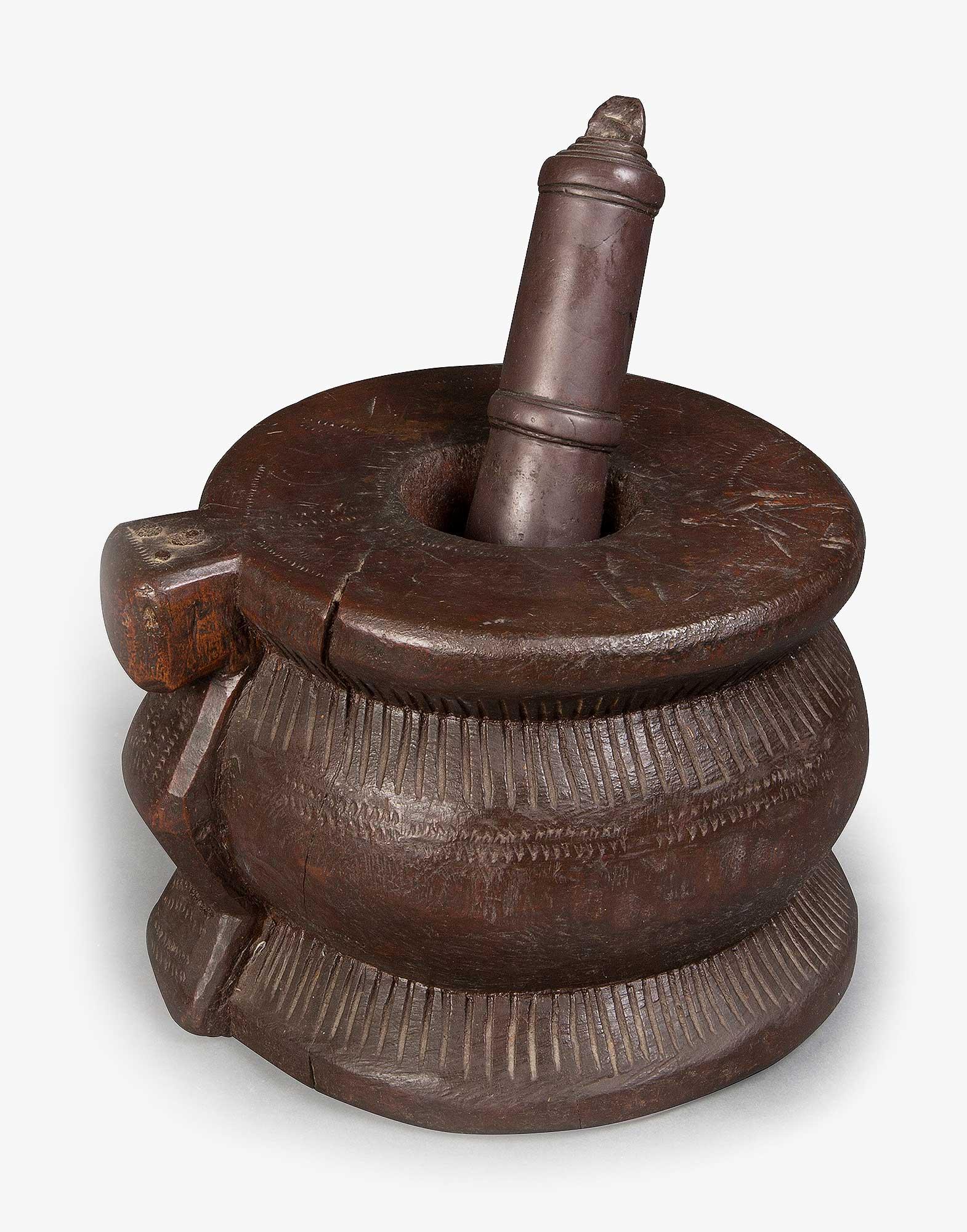 Antique Handmade Wooden Mortar