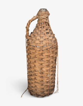 Antique Olive Oil Bottle With Wicker Casing