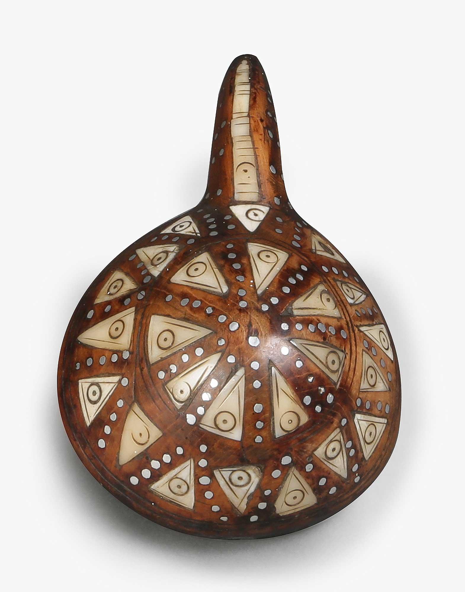 Antique Wood Gunpowder Flask