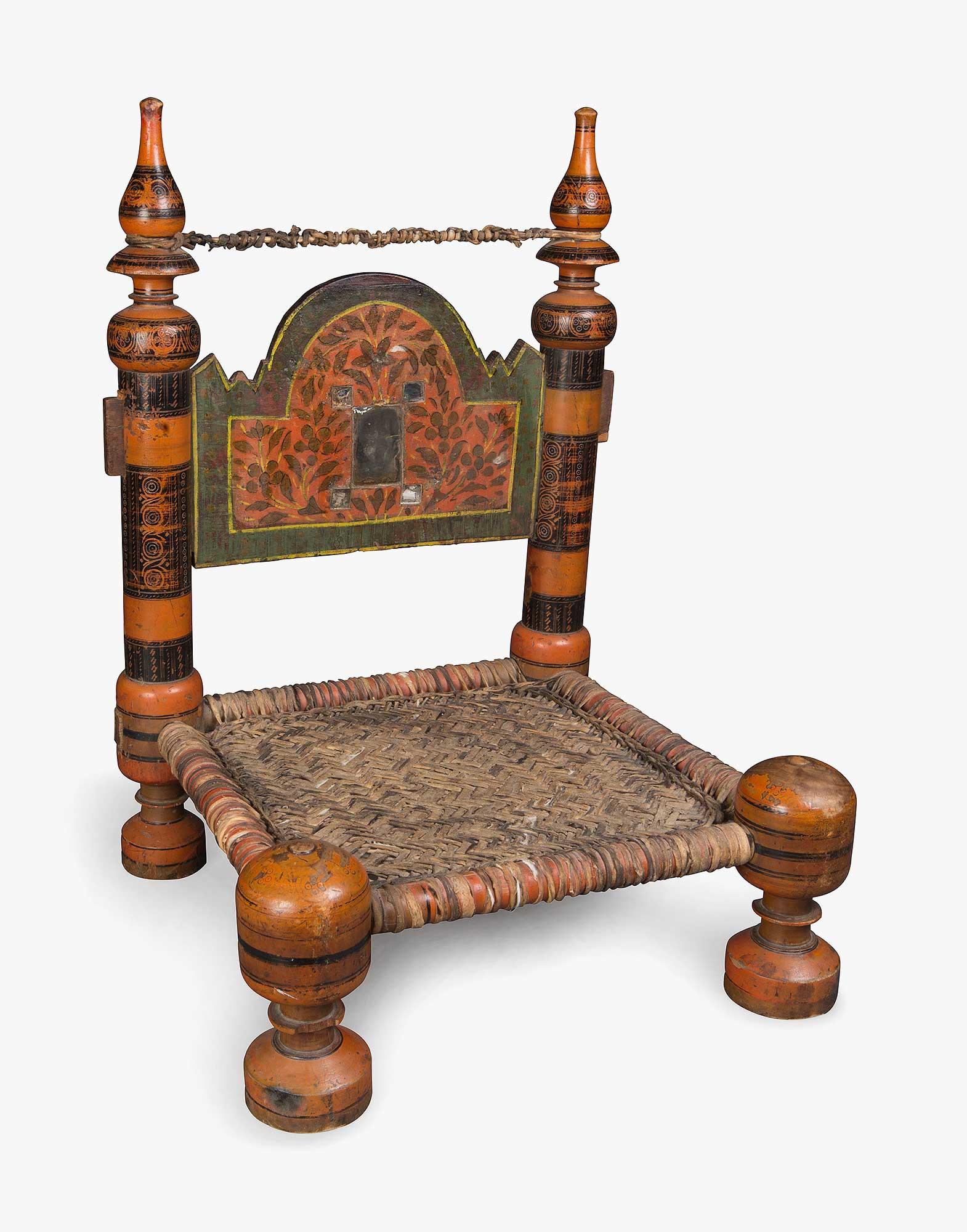 Uzbek Painted Wooden Wicker Chair