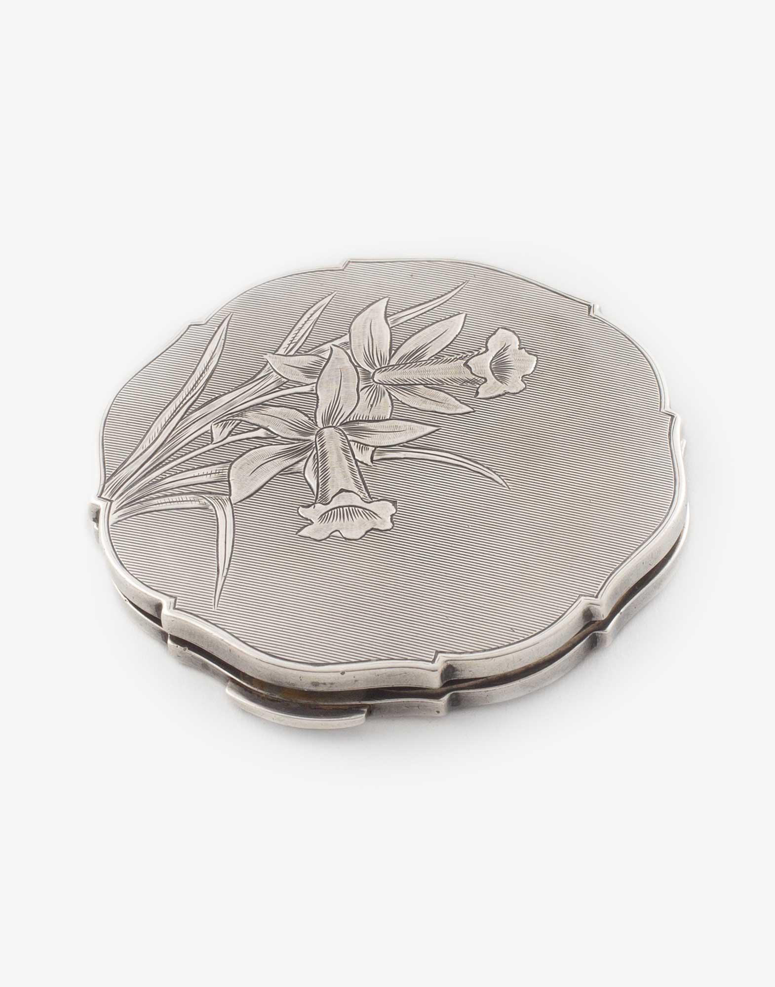 Antique Silver Poudrier Compact
