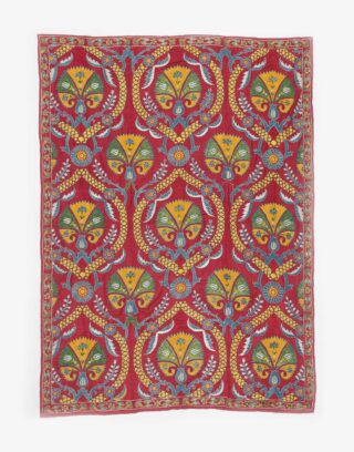 Uzbek Suzani Colorful Embroidered Silk Bed Cover