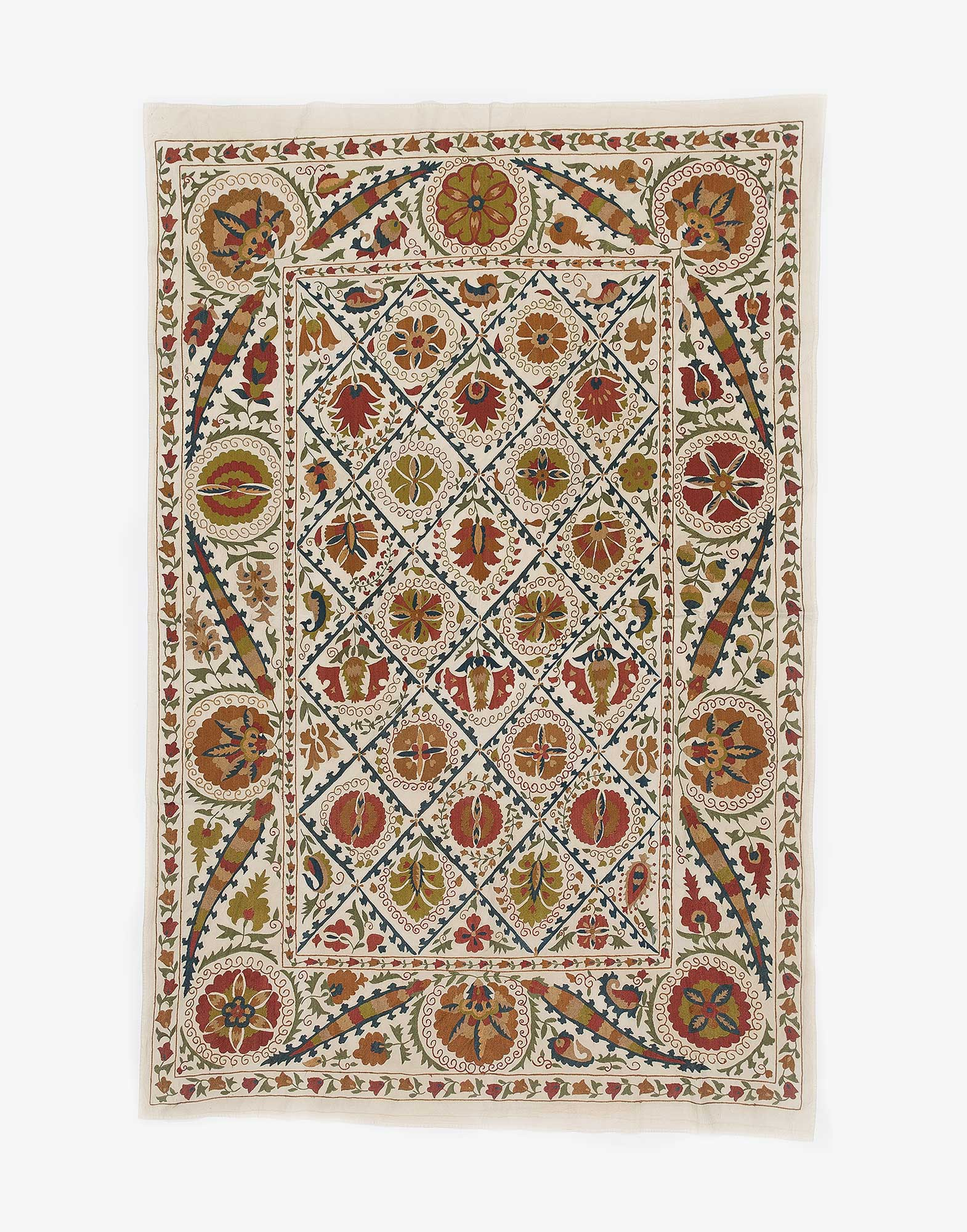 Uzbek Suzani Embroidered Bed Cover