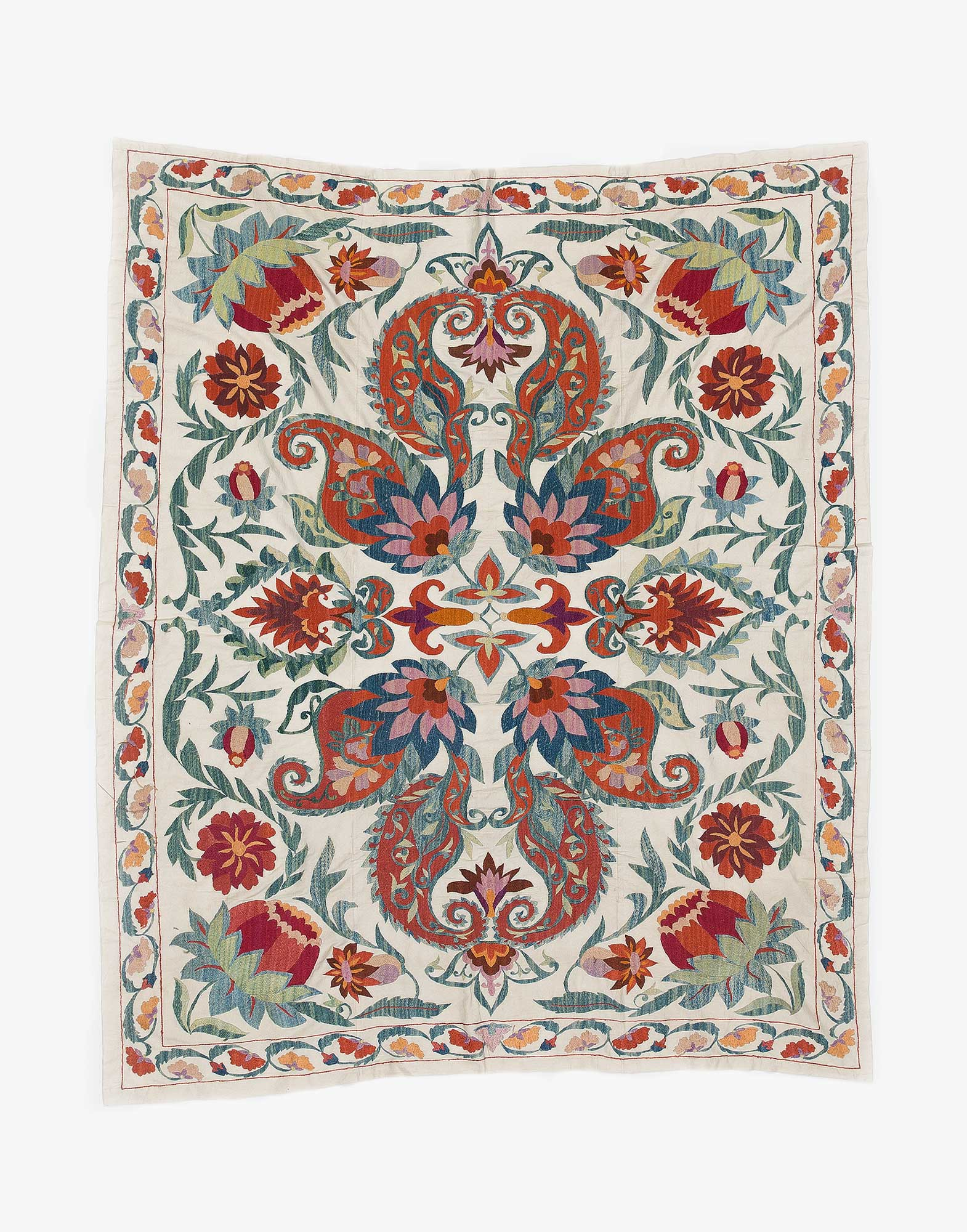 Uzbek Suzani Embroidered Silk Bed Cover