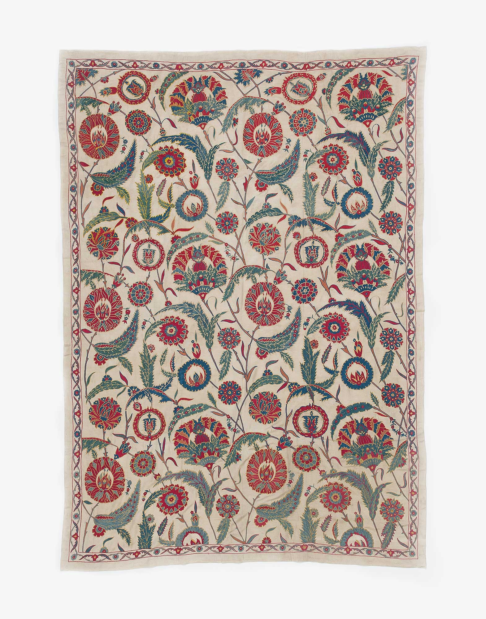 Uzbek Suzani Embroidered Silk Wall Hanging