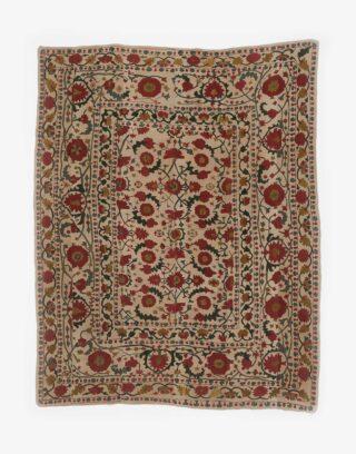 Uzbek Suzani Embroidered Silk Wall Hanging